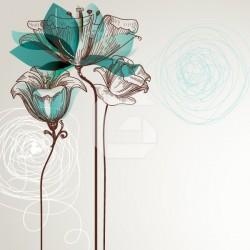 Vinilo para mesillas flores turquesa