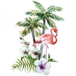 Vinilo flamingo con palmeras