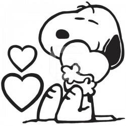 Adhesivo Snoopy enamorado
