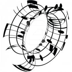 Vinilo notas musicales en 3D