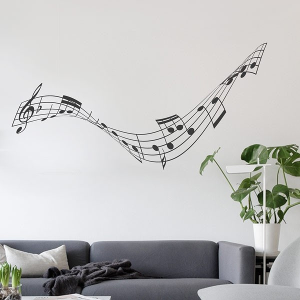 Pegatina ola pautas musicales