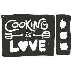 Adhesivo frase cooking is love
