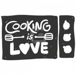 Adhesivo de frases cooking is love