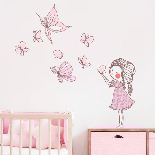 Adhesivo niña con mariposas