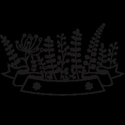 Adhesivo texto decorativo flores