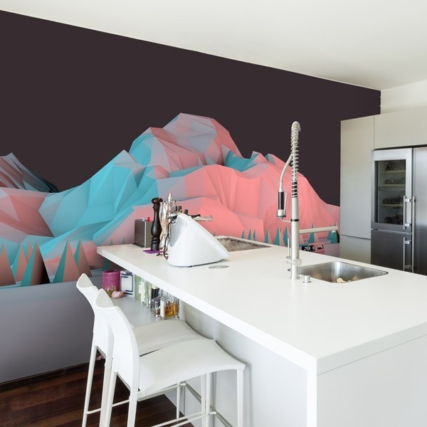 Mural de pared montaña 3D