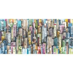 Vinilo muebles ilustración de ciudad