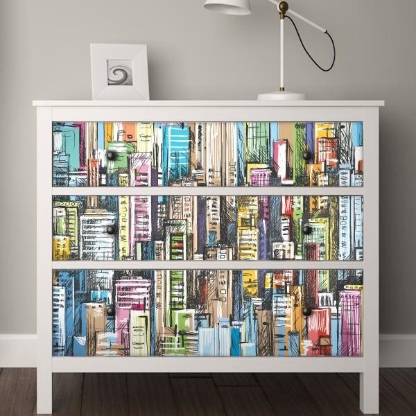 Ilustraci n de ciudad adhesivos para muebles for Pegatinas para muebles