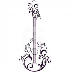 Adhesivo guitarra con flores