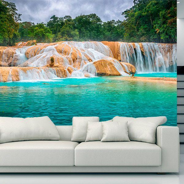 Fotomural cascadas de agua azul