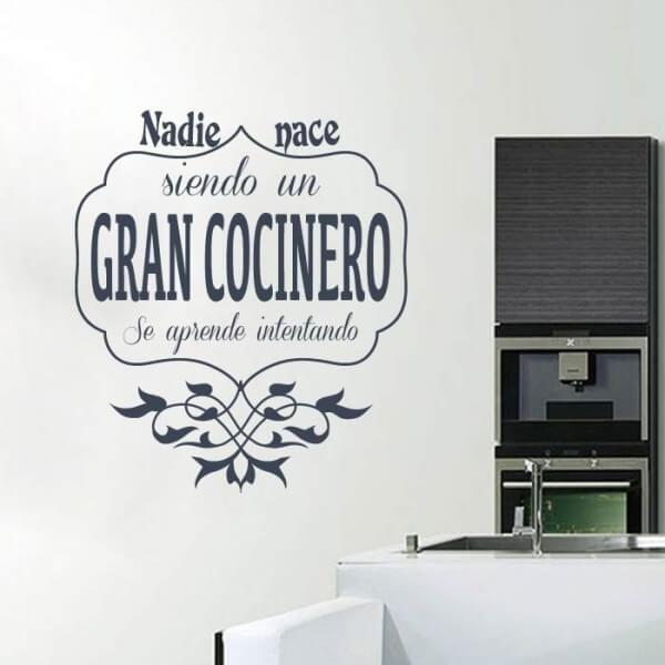 Vinilo frase gran cocinero adhesivos personalizados - Musica para cocinar ...