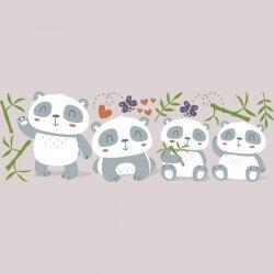 Vinilo infantil pandas bebés