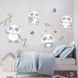 Vinilo infantil pequeños pandas