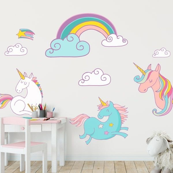 Adhesivo decorativo unicornios