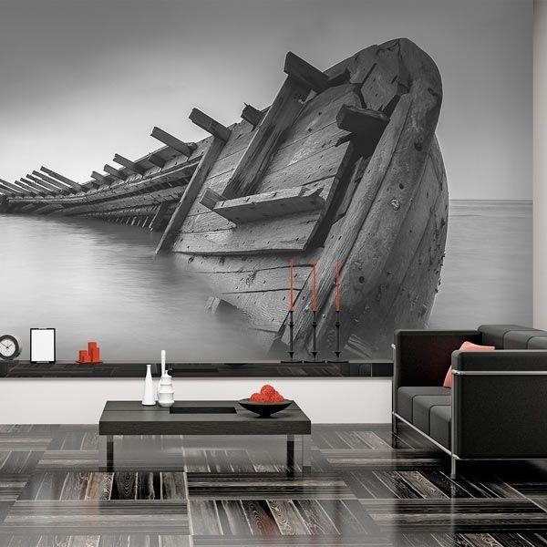 Fotomural barco, blanco y negro