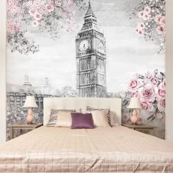 Mural pared acuarela de Londres