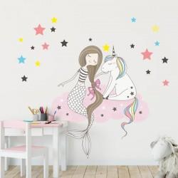 Vinilo sirena y unicornio