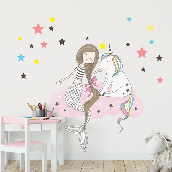Sirena y unicornio vinilos decorativos para transformar for Cuarto de unicornio