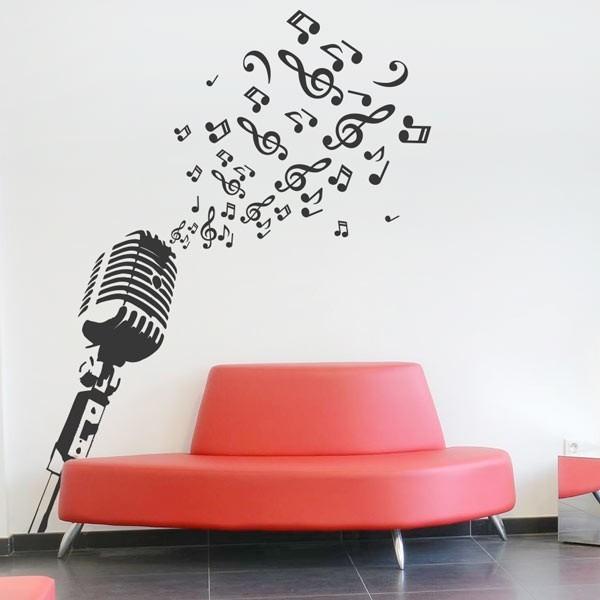 Micr fono 1 vinilo decorativo para transformar tu casa - Vinilos pared musica ...