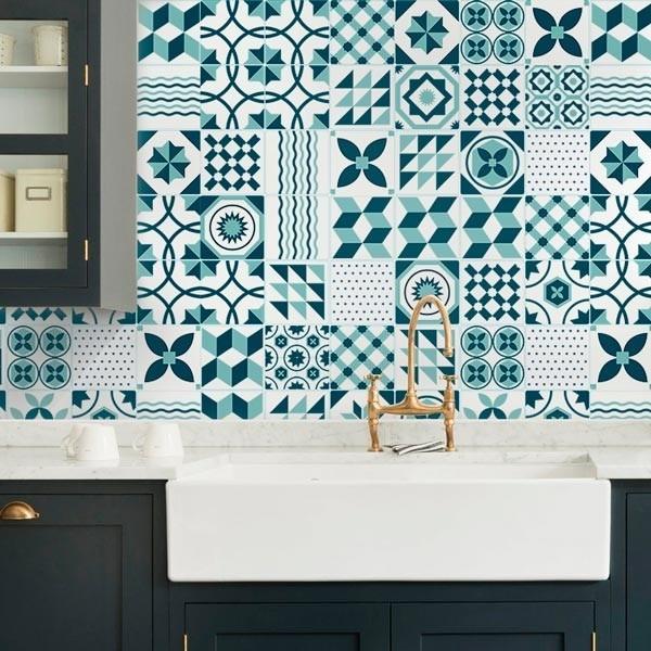 Azulejo portugu s verde vinilo decorativo para for Vinilos pared azulejos