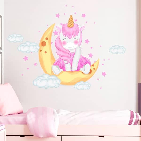 Vinilo luna con unicornio