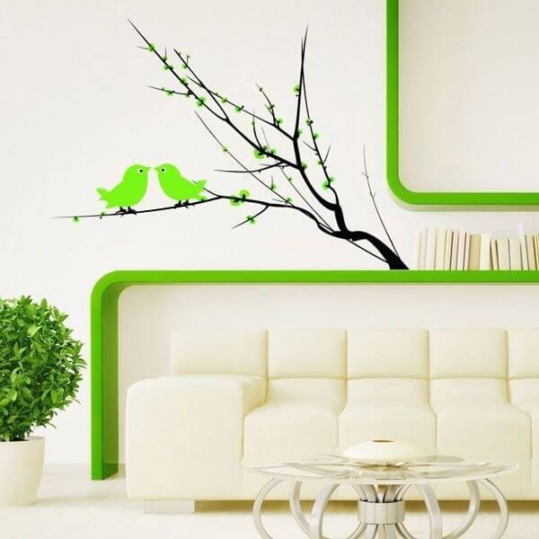 Adhesivo de árbol con pájaros