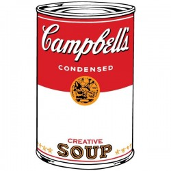 Adhesivo pop art Campbell's soup