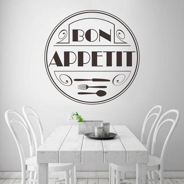 Adhesivo círculo bon appétit