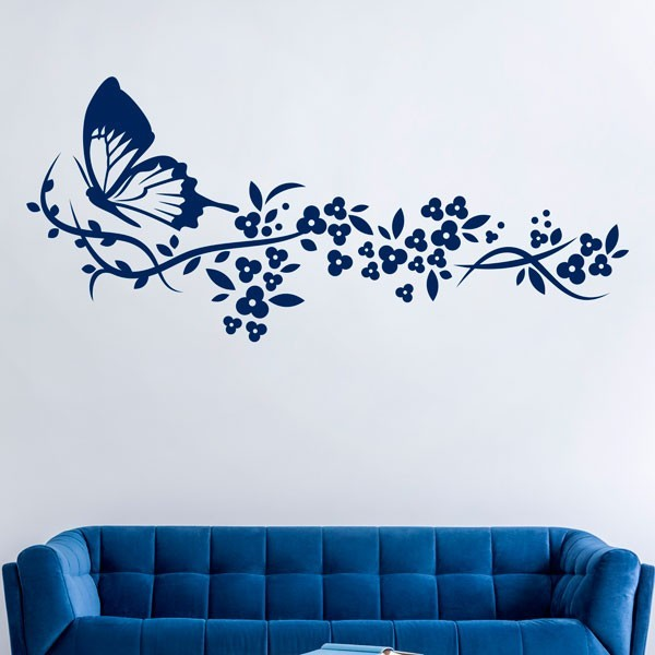 Vinilo floral con mariposa