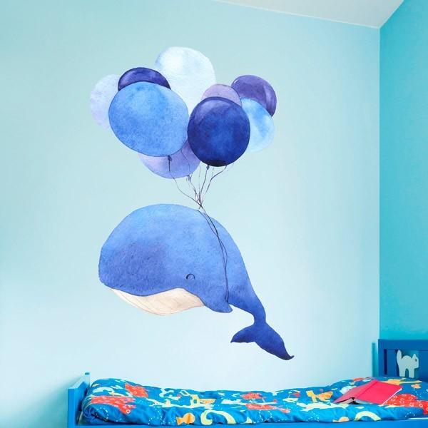 Vinilo infantil ballena y globos
