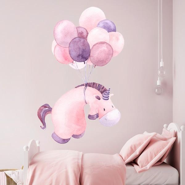 Vinilo infantil unicornio y globos