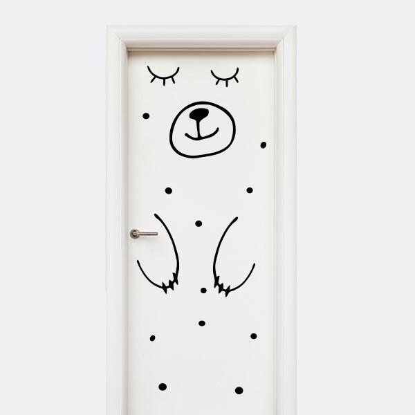Vinilo puerta Oso durmiendo