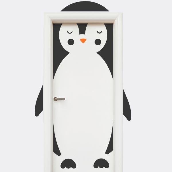 Vinilo puerta infantil pingüino