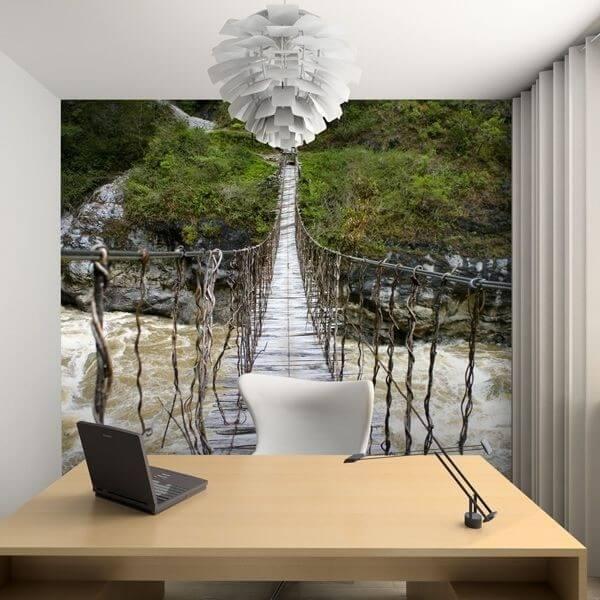 Fotomural puente de madera