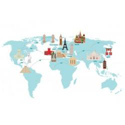 Vinilo mapamundi monumentos