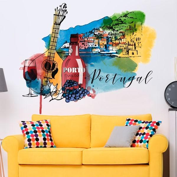 Adhesivo de pared acuarela Portugal
