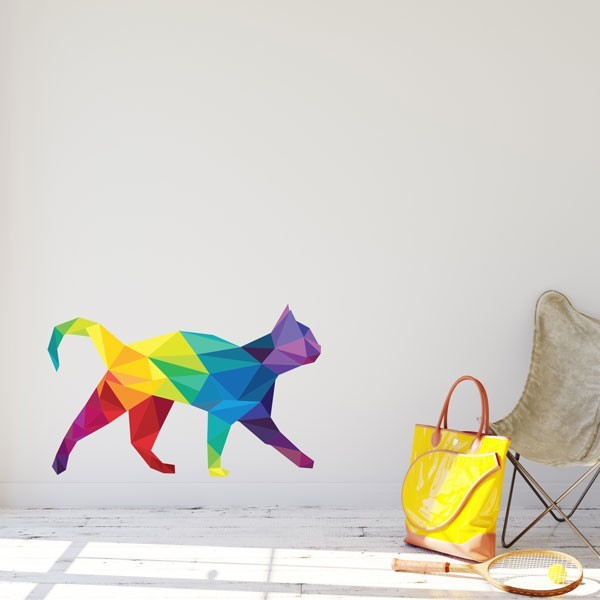Adhesivo gato poligonal