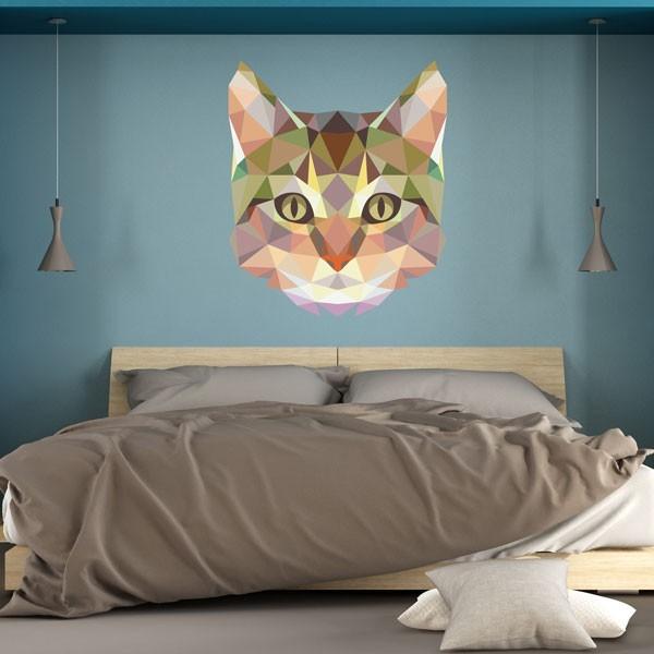 Vinilo de pared gato geométrico