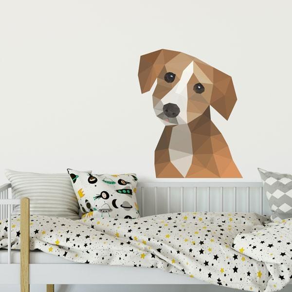 Adhesivo decorativo perro geométrico