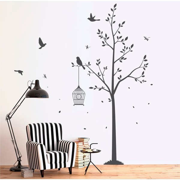 Vinilo árboles con aves