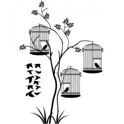 Pegatina árboles con pájaros