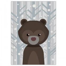 Cuadro adhesivo infantil oso en el bosque