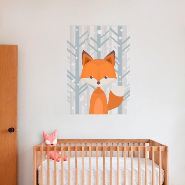 Vinilo bebé zorro en el bosque