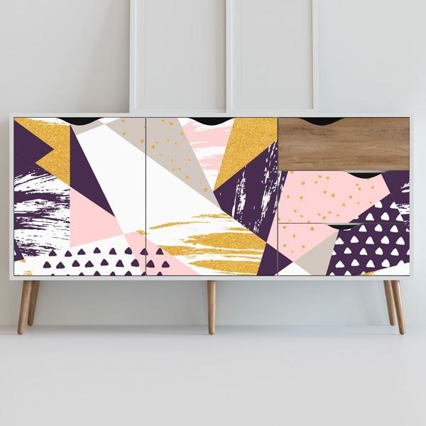 Vinilo para muebles rosa y dorado