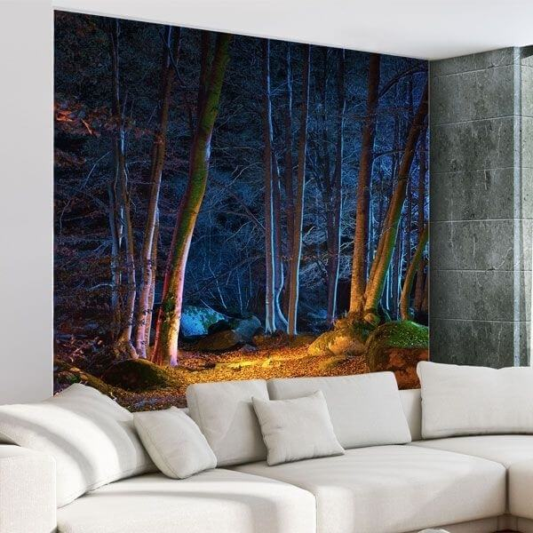 Fotomural floresta iluminada