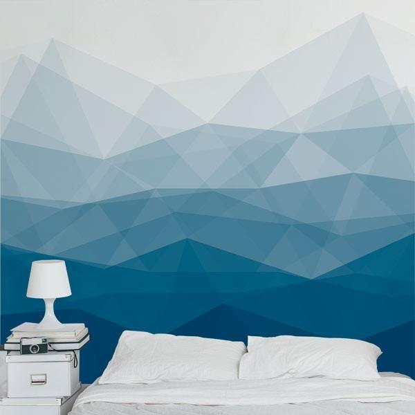 Mural decorativo patrón azul
