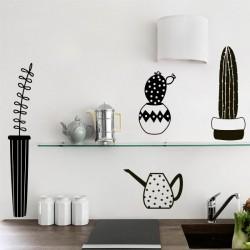 Pegatina de macetas con cactus