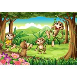 Fotomural infantil monos en el bosque