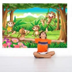 Fotomural infantil monos en...