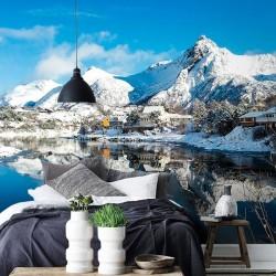 Fotomural casas en las montañas